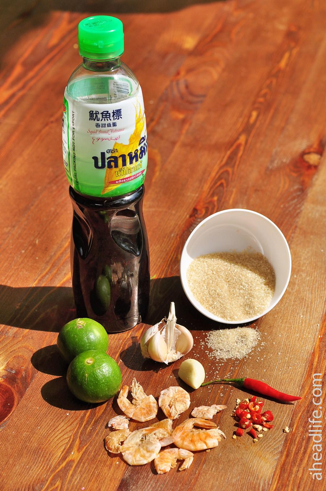 Салат из папайи Сам Том: ингредиенты для соуса